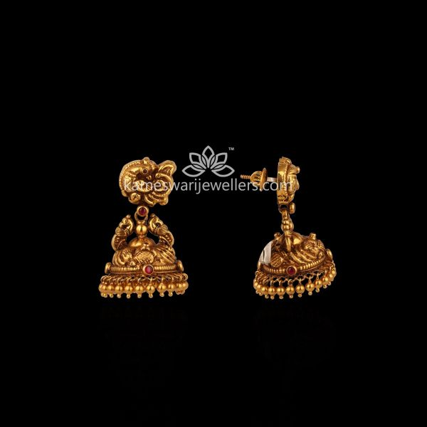 Gheru Finish Jhumkis With Gold Drops