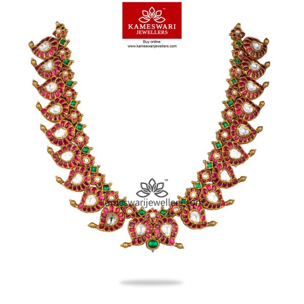 Lite Wt Lakshmi Necklace With Chand and Pearl Drops Set