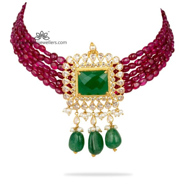 Ruby And Emerald Color Stone Choker